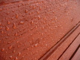 Water Drops On Red Bench by Moka898