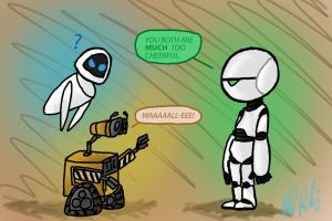 Wall-E and EVE Meet Marvin by Cloudghost