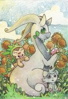 Sunflowers and pokemon by SilkenCat