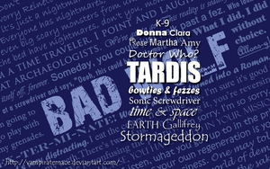 Doctor Who Typography Wallpaper II by VampirateMace