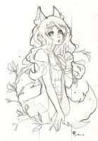 Sketchy Foxgirl by WithyArt