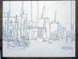contour drawing of the art room by malibar1