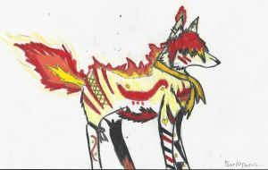 Flame wolf Adoptable by TornBlackWolf