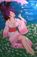 leela under the cherry blossom by wukonguk
