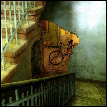 bike and broken doorway by brandybuck