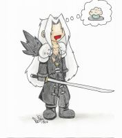 Sephiroth Wants a Moofin by vampiric-wolf