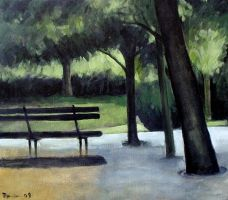 Park Bench Oil Paint by Boias