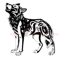 Howling wolf - tattoo design 2 by Velvet-Loz