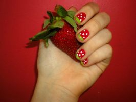 Strawberry Nails by Antikku-Kissu