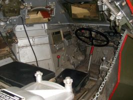 ferret scout car, inside view, tank museum by drshaggy