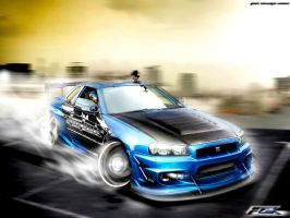 Nissan Skyline GTR Drifting by Faik05