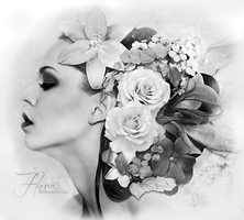 Flora Black and White by ROSASINMAS
