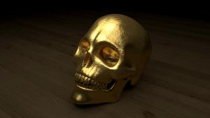 Gold Skull by polygonbronson