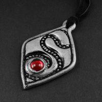 Red Glass and Silver Polymer Clay Necklace by sylva