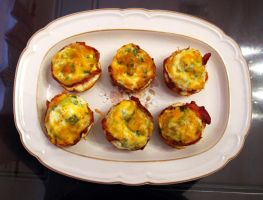 Bacon-wrapped Eggs w/Cheese on Top by kristollini