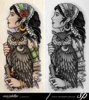 Gypsy Holding Owl Half Sleeve Tattoo by Sam-Phillips-NZ
