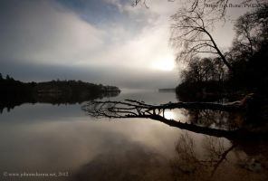 Loch Lomond as the fog lifts by Johnmckenna