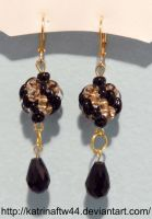 Black and Gold Superduo Earings by KatrinaFTW44