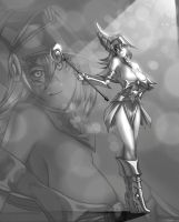 Dark Magician Girl Gray by megaween
