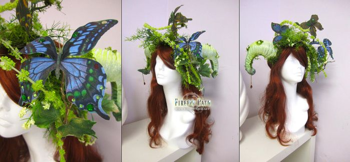 Mossy Aries Headdress by Firefly-Path