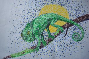 Pointillism Picture: Chameleon by GuardianLord