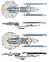 Excelsior class starship and refit. by jbobroony