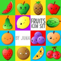 cute fruits icon set 1 by junawashere