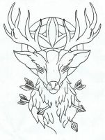 Stag tattoo design by thirteen7s