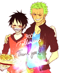 Luffy/Zoro - 900 followers! by J-Lock