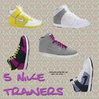 5 Nike Trainers PNG by camiluchiiz