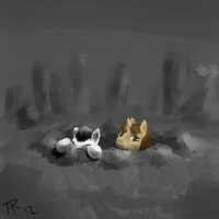 Peeking Out of the Crater by JulepPony
