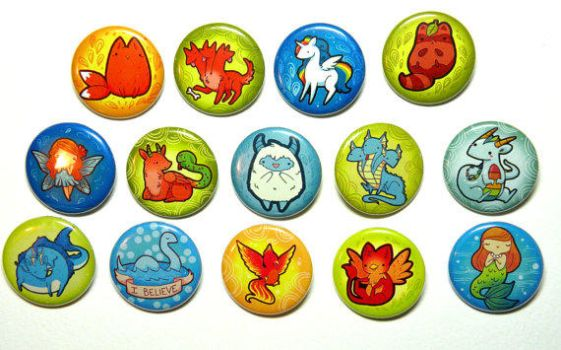 mythical pinned back button set by michellescribbles