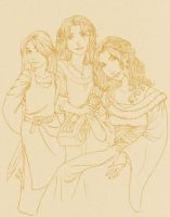 Sketch - Ladies of House Stark by Kittchi