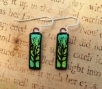 Tree of Life Fused Glass Earrings Yellow Green by FusedElegance