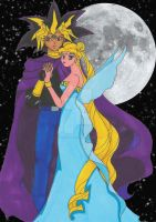Yami Yugi/Atemu and Princess Serenity by Nitrofires-Revenge