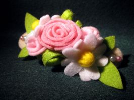 Felt Flower Hair Barrette by fleur-de-mirage