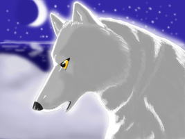 Digital Wolf Drawing by Aki-rain