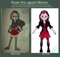Before and after meme. Violet Bulivard by peblezQ