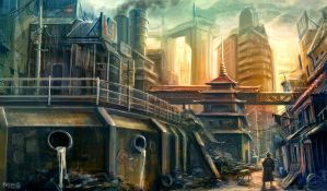 Feudal Future Slums by freakyfir