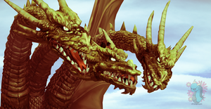 King Ghidorah and Ghidrah by xXTheSwagginDragonXx