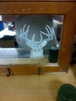 Deer Etching on Mirror by ckatt01