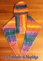 Multicolor Baktus Scarf with matching Slouchy Hat by lefantasiedinephtys