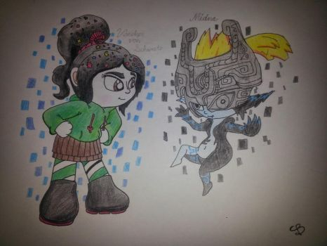 Vanellope Von Schweetz and Midna by PilloTheStarplestian