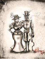 Steampunk Couple by BunnyBennett