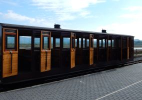 NWNGR Carriage 24 with Open Doors at Porthmadog by rlkitterman