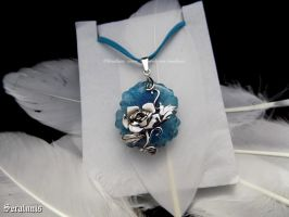 'Frozen rose', sterling silver pendant RESERVED by seralune