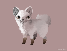 Dog with shoes by Harrojessica