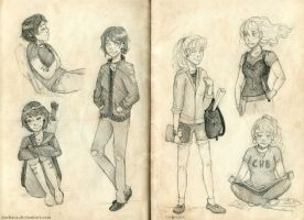 Thalia and Annabeth sketches by BeyondThePines