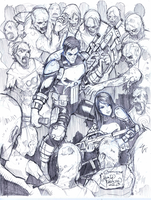 Punisher and Vampy vs Zombies pencils by sykoeent