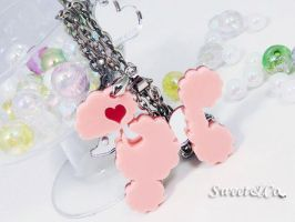 Mirror Heart Poodle Necklace by SweetandCo